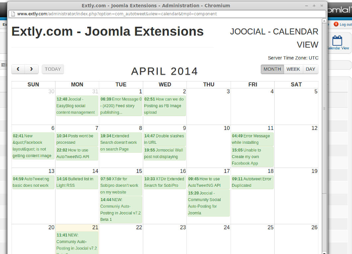 Calendar view of scheduled messages